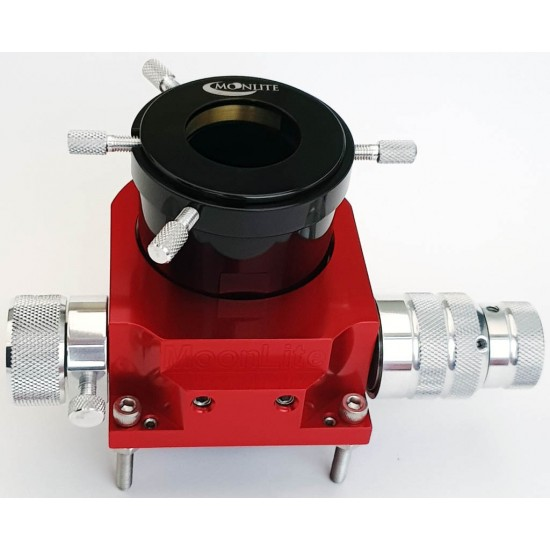 """Moonlite CR2 DUAL Speed Crayford Focuser for Newtonians with 2"""" Travel with Compression Ring - RED Colour"""