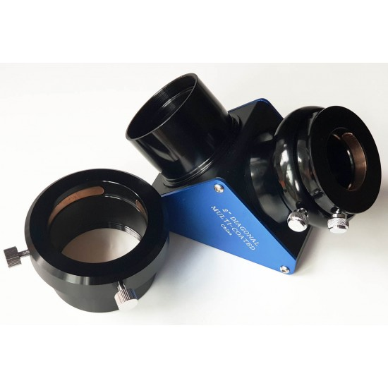 """365Astronomy 2"""" 99% Dielectric Deluxe Mirror Diagonal for SCT with 2"""" nosepiece & 1.25"""" Adapter"""