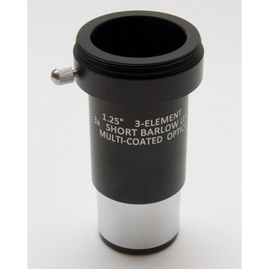 """365Astronomy 1.25"""" 3x SHORT Achromatic Barlow with T-adapter - NEW"""