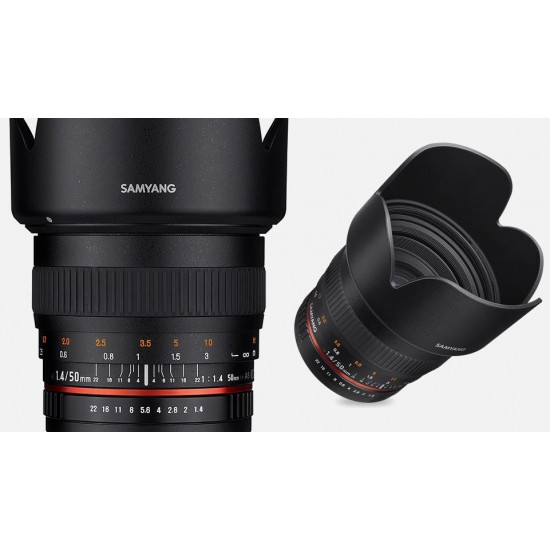 Samyang 50mm F1.4 AS UMC Lens for SONY FE Full Frame & APS-C Cameras with E-Mount- CLEARANCE