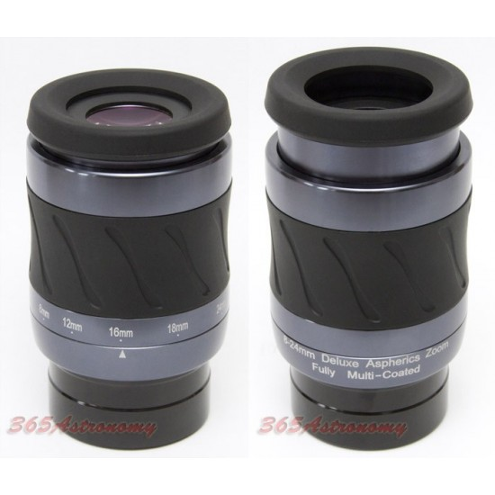 "365Astronomy Deluxe Aspheric Zoom Eyepiece 8-24mm - 1.25"" and 2"" compatible"