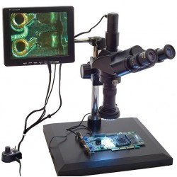 BTC INDc1d Industrial Material Inspection Zoom Stereo Microscope with Trinocular Head 7x-45x, digital 35x-225x