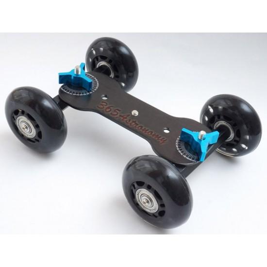 Commlite  4-Wheel Desktop Dolly Skater Rail Slider - BLACK