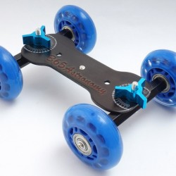 Commlite  4-Wheel Desktop Dolly Skater Rail Slider - BLUE