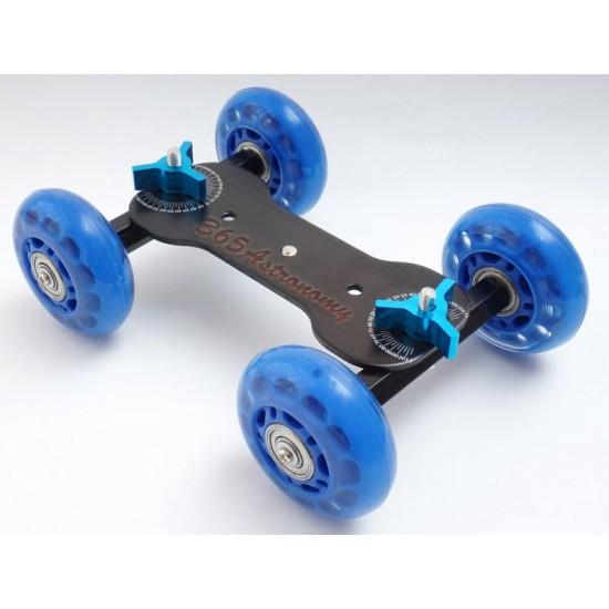 Commlite  4-Wheel Desktop Dolly Skater Rail Slider - BLUE