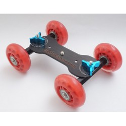 Commlite  4-Wheel Desktop Dolly Skater Rail Slider - RED