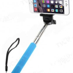 Commlite Extendable Self Portrait Selfie Stick with Camera Mount and Detachable Phone Holder - 107cm Long - BLUE
