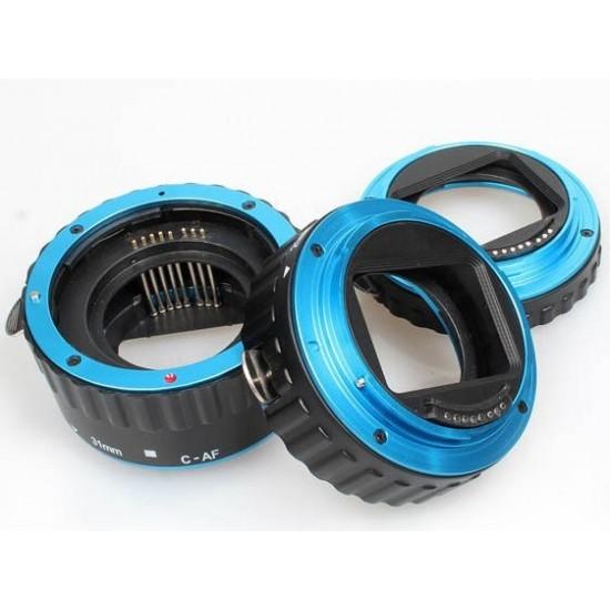 Commlite Macro Extension Tube Set TTL Autofocus for Canon EOS EF / EF-S Lenses - METAL - BLUE COLOUR