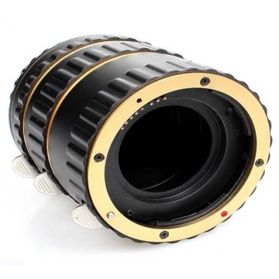 Commlite Macro Extension Tube Set TTL Autofocus for Canon EOS EF / EF-S Lenses - METAL - GOLD COLOUR