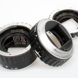 Commlite Macro Extension Tube Set TTL Autofocus for Canon EOS EF / EF-S Lenses - METAL - SILVER COLOUR