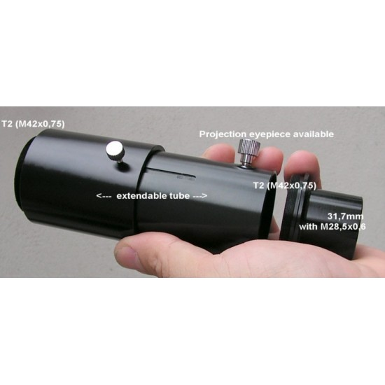 """Eyepiece Projection Adapter from 1.25"""" to T2 - Variable Length"""