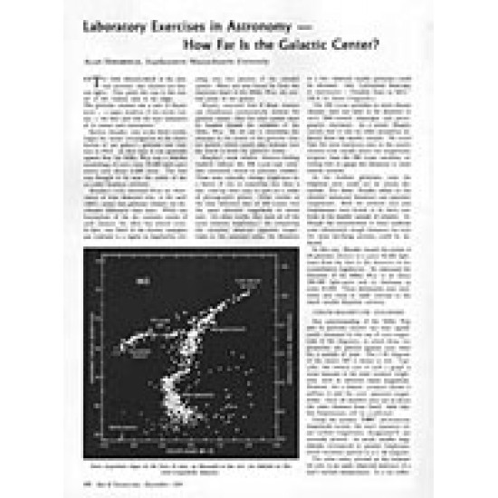 Lab Exercises in Astronomy: How Far is the Galactic Centre