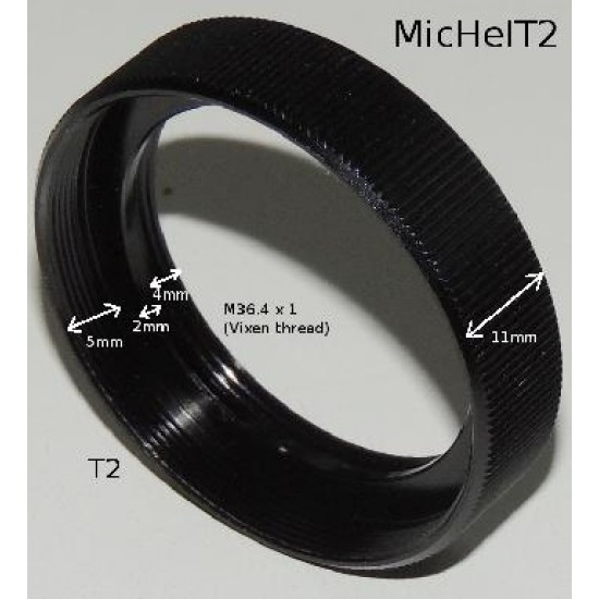 "M36.4 to T-thread Adapter for 1.25"" Non-rotating Helical Micro Focuser"