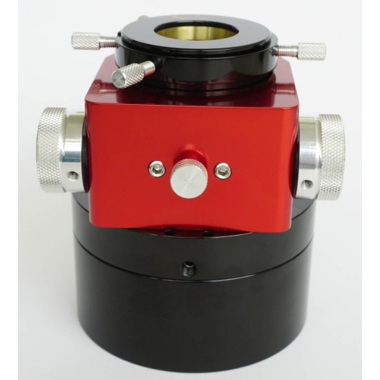 """Moonlite CS Model Single Speed Crayford Focuser for 2"""" SC with 0.95"""" Travel, Focal Reducer Drawtube & Brass Compression Ring - RED Colour"""