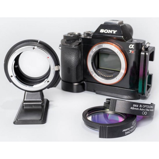 DEO-Tech OWL NIKON F-mount G Lens to Sony E-mount Drop-In Filter Adapter Filter Drawer