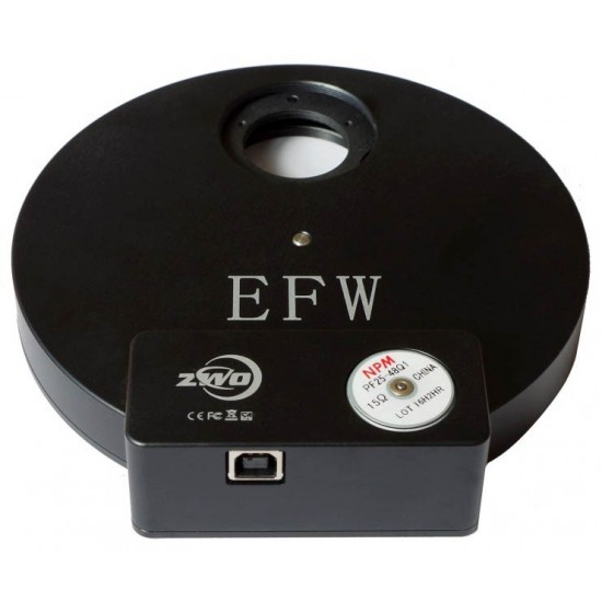"""ZWO EFW 8-position Filter Wheel for 1.25"""" Mounted and 31mm Unmounted Filters"""