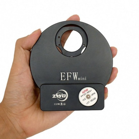 """ZWO EFWmini 5-position Filter Wheel for 1.25"""" and 31mm Unmounted Filters"""