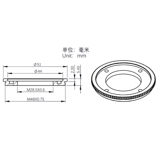 """ZWO 2""""-1.25"""" Filter Adapter with M28.5 Female and M48x0.75 Male Thread"""