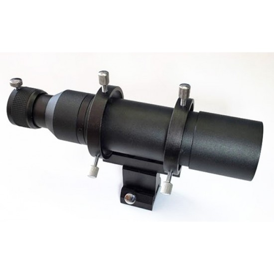 """APM 50mm Finderscope / Guidescope Kit - Straight Version with 1.25"""" Helical Focuser - BLACK"""