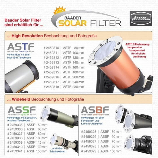 Baader ASBF60 AstroSolar Binocular Filter 60mm - One Piece Only- CLEARANCE