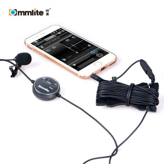 Commlite CoMica dB Adjusting Lavalier Microphone - CVM-V03 - Clip-on Mic for Camera, Camcorder and Smartphone - CLEARANCE