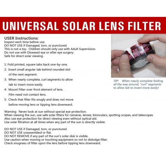 DayStar White Light ULF-50 - Universal Solar Filters for 50-69mm Outer Diameter