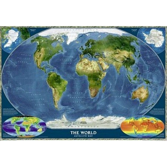 Satellite World Map 109 x 76cm