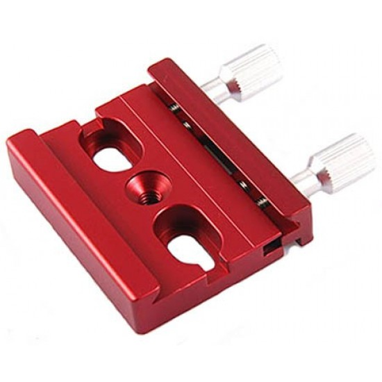 Mini Mounting Platform / Clamp for 38 - 43mm Wide Photographic Dovetail Bars - Red