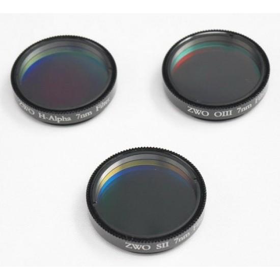 "ZWO 1.25"" H-alpha, SII, OIII 7nm Narrowband Filter Set - Mark II"
