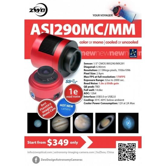 ZWO ASI290MM USB3.0 Monochrome CMOS Camera with Autoguider Port