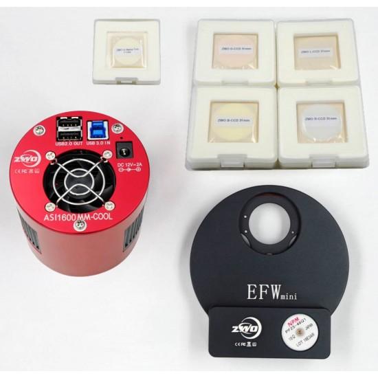 ZWO ASI1600MM PRO COOLED Deep Sky Imaging Camera with EFWMini, 31mm RGBL Filter Set & 31mm H-alpha 7nm Filter BUNDLE