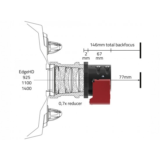 """Primaluce Lab Adapter between ESATTO 2"""" and Telescopes with LARGE 3.3"""" SC Thread"""