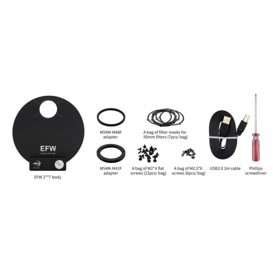"""ZWO 2"""" EFW 7-position Filter Wheel for 2"""" Filters"""