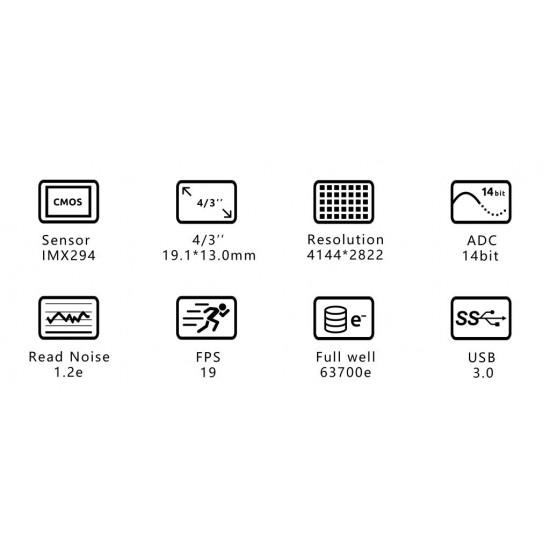 """ZWO ASI294MC Colour 4/3"""" CMOS USB3.0 Deep Sky Imager Camera"""