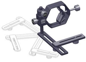 Der Digiscoping-Adapter rastet in verschiedenen Positionen ein, sodass die Kameraposition reproduzierbar ist.