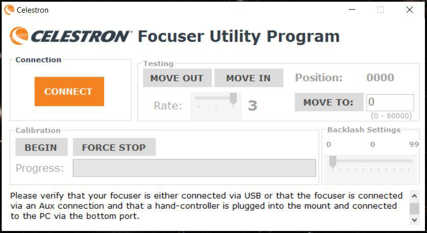 Celestron Focuser Utility