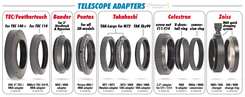 Optionally available Telescope Adapters of the M68-Tele-Compendium.