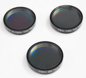 """ZWO 1.25"""" H-alpha SII OIII 7nm Narrowband Filter Set"""