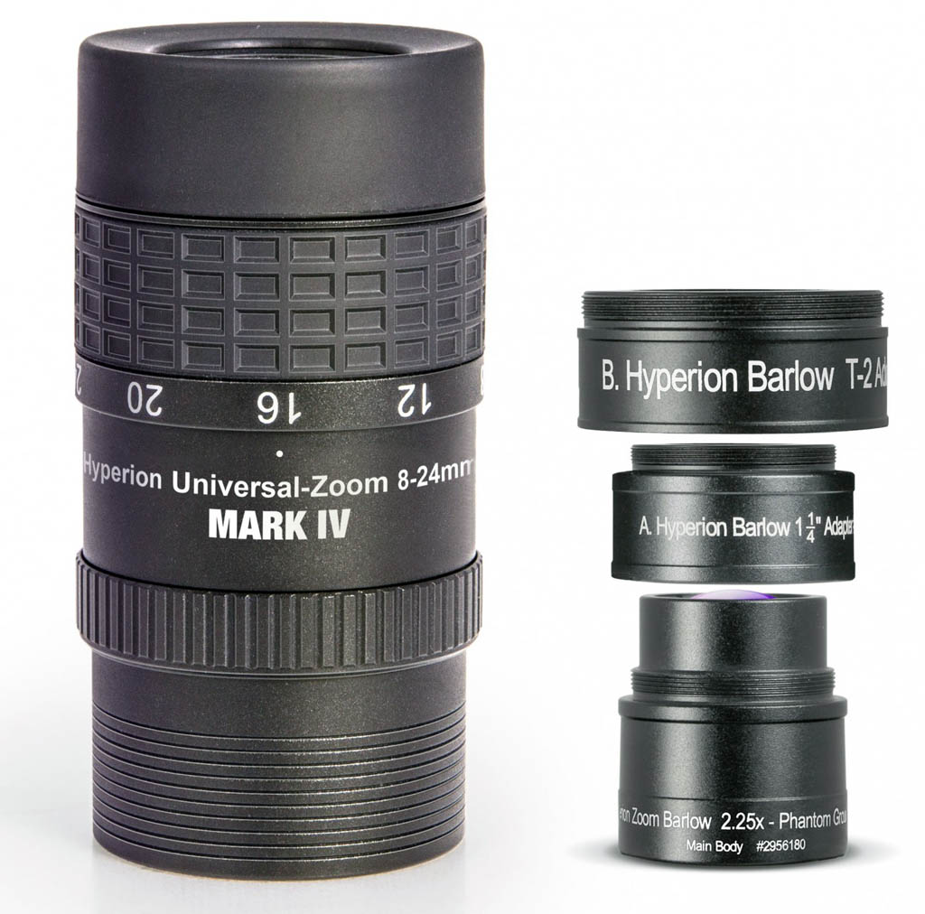 Baader Hyperion Universal Zoom Eyepiece MARK IV Combo with 2.25x Hyperion Barlow (8-24mm / 3.6-10.7mm)