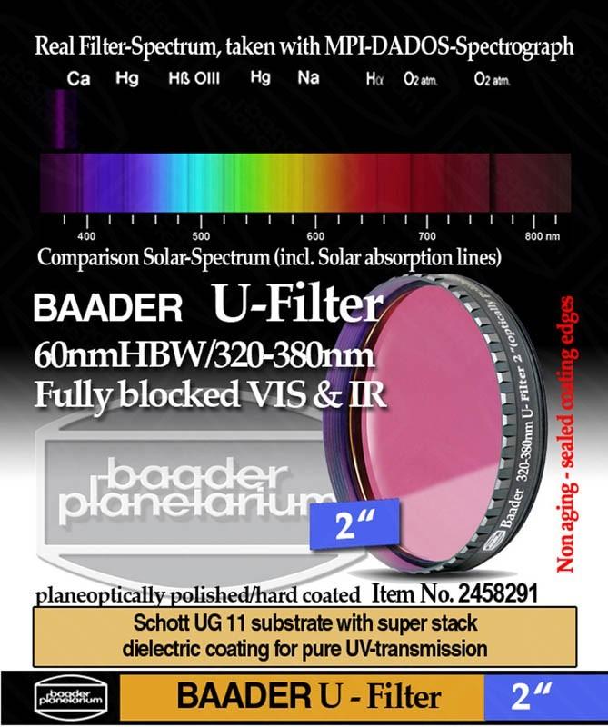 "Baader U-Filter 2"" ZWL 350nm T= 320 - 380nm (optically polished)"