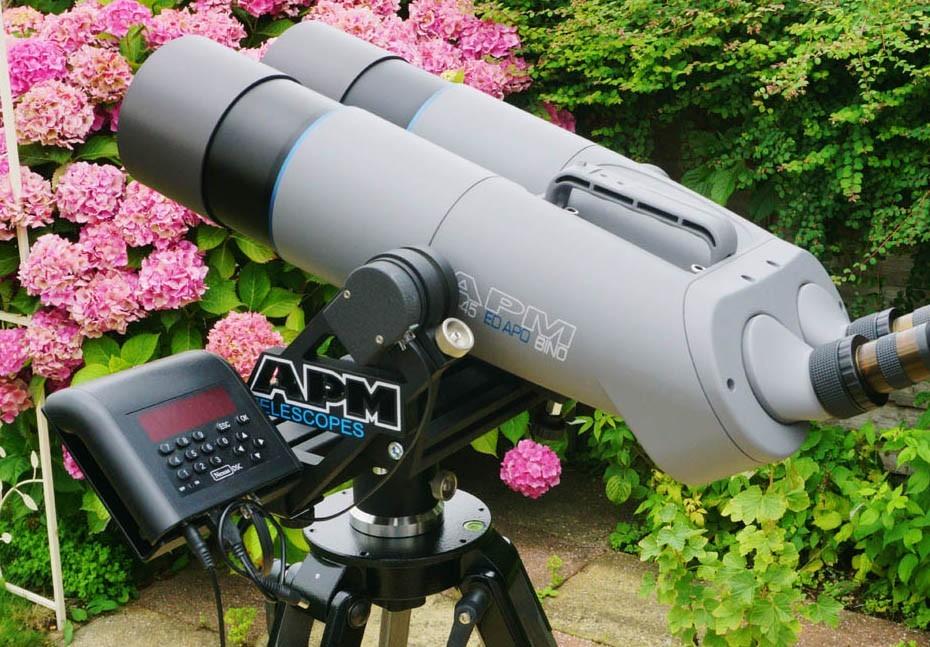 APM 100 ED-APO BINO 90-degree Binocular with APM Fork Mount, Nexus DSC & GREY Berlebach UNI 28 Tripod
