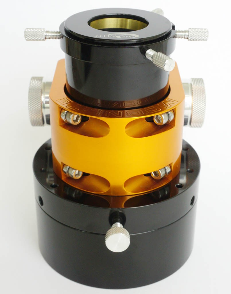 "Moonlite CS Model Single Speed Crayford Focuser for 3.3"" SC with 0.95"" Travel, Focal Reducer Drawtube & Brass Compression Ring - Gold/Orange Colour"