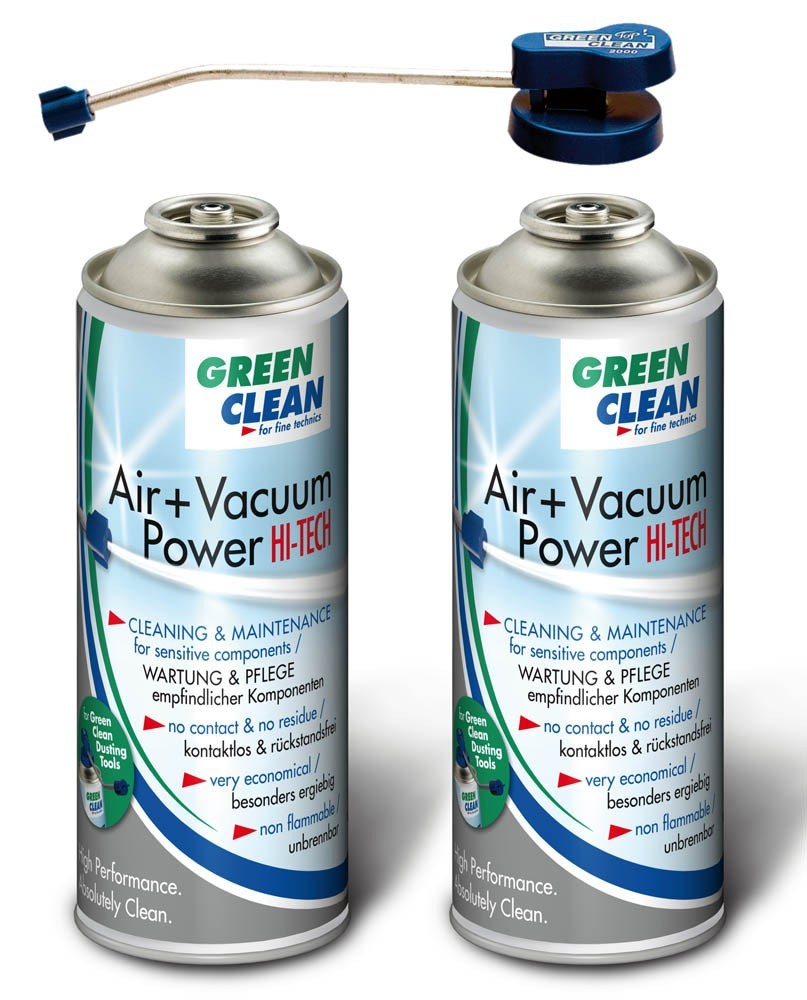Green Clean GS-2051 STARTER KIT - 2 pcs Air + Vacuum Power Hi Tech 400 ml Air Duster and 1 pc Top Ventil