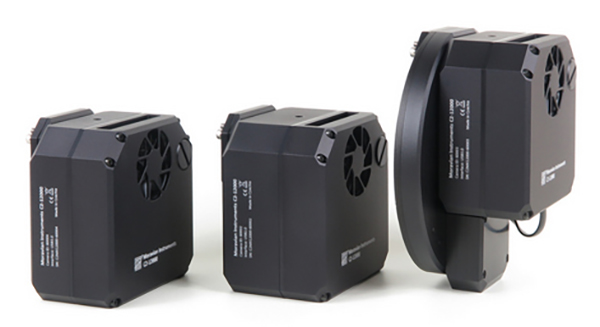 C2 Camera without filter wheel (left), with Internal filter wheel (middle) and with attached External filter wheel (right)