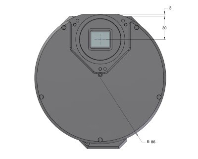 C2 camera head with External filter wheel front view dimensions