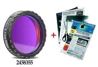 "Baader 1.25"" Calcium K-Line Filter 395nm stacked with ND 3.8 AstroSolar Photo Film"