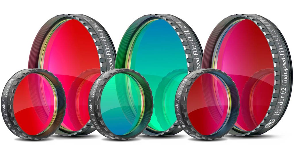 "Baader f/2 Narrowband Highspeed-Filterset 2"" - Set of 3 Filters H-alpha, OIII and SII"