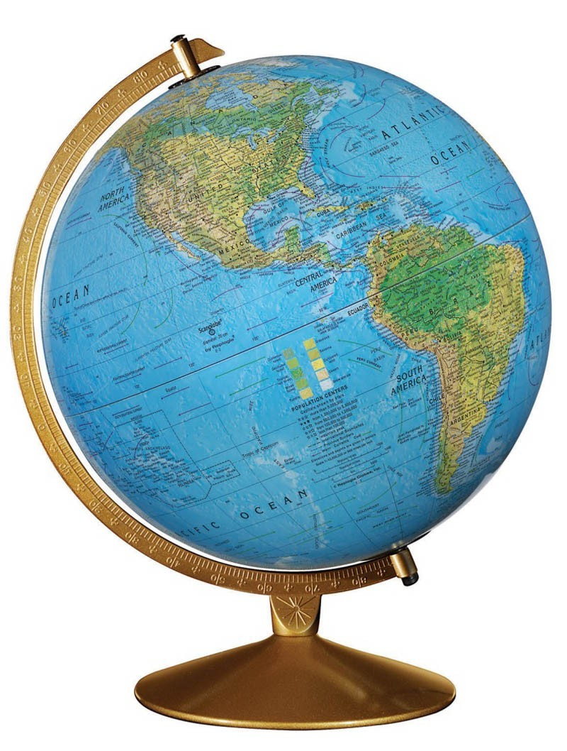 "12"" The Captain Dual Mapping Illuminated Desktop Globe"