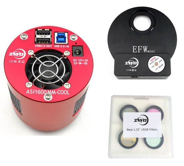 """ZWO ASI1600MM COOLED Deep Sky Imaging Camera with EFWMini and 1.25"""" RGBL Filter Set BUNDLE"""