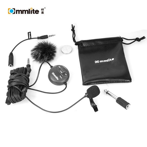 Commlite CoMica dB Adjusting Lavalier Microphone - CVM-V03 - Clip-on Mic for Camera, Camcorder and Smartphone